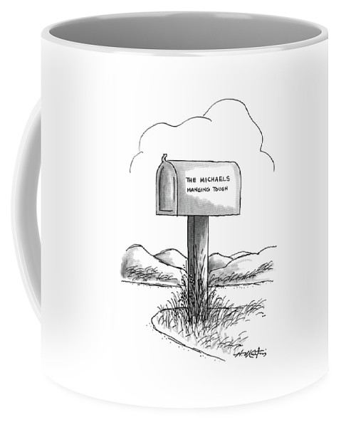 No Caption A Mailbox On A Wooden Post Surrounded By Overgrown Grass Has The Words Coffee Mug featuring the drawing New Yorker August 24th, 1987 by Henry Martin