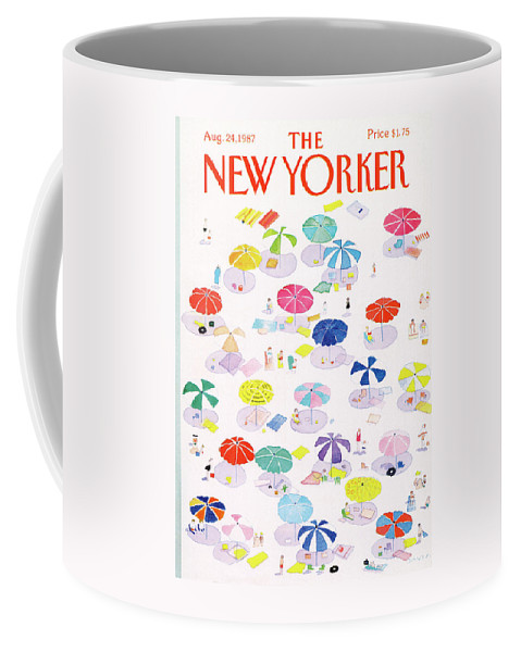 Beach Coffee Mug featuring the painting New Yorker August 24th, 1987 by Susan Davis