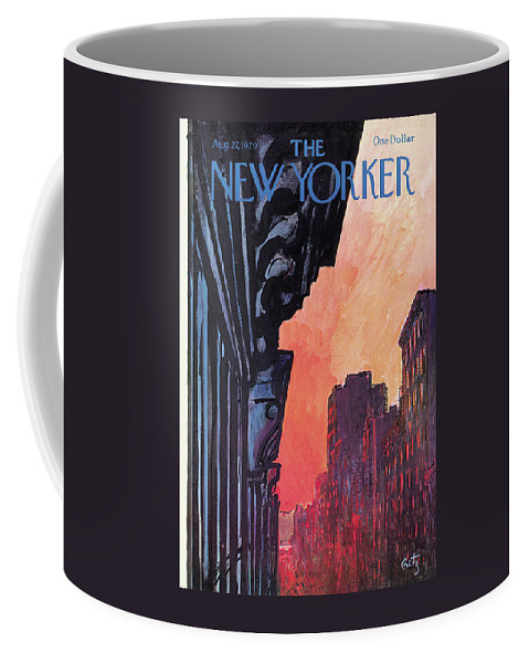 Urban Coffee Mug featuring the painting New Yorker August 27th, 1979 by Arthur Getz