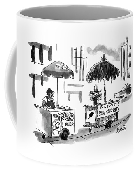 (two Ice Cream Stands - One Reads Other Reads Coffee Mug featuring the drawing New Yorker August 2nd, 1993 by Donald Reilly