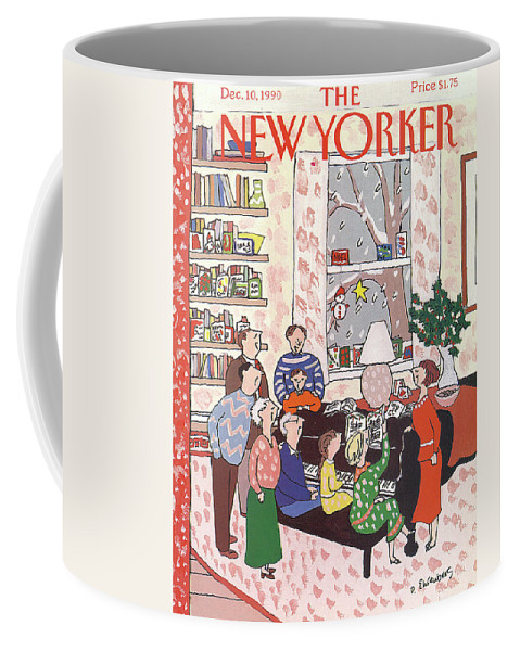 (a Family Gathers Around A Piano As They Sing Christmas Carols.) Entertainment Coffee Mug featuring the painting New Yorker December 10th, 1990 by Devera Ehrenberg
