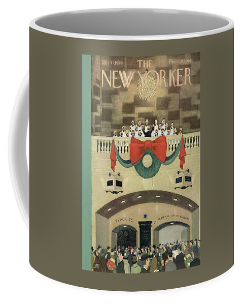 Train Coffee Mug featuring the painting New Yorker December 11th, 1954 by Charles E Martin
