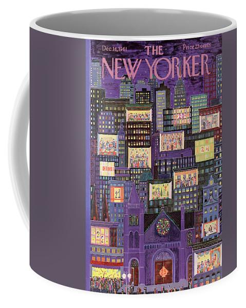 Christmas Coffee Mug featuring the painting New Yorker December 16th, 1961 by Ilonka Karasz