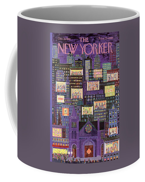 Christmas Coffee Mug featuring the painting New Yorker December 16th, 1961 by Ilonka Karasz