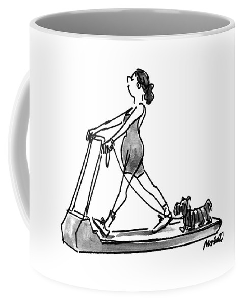 (the Woman Taking Her Dog Out For A Walk On Her Threadmill.) Fitness Coffee Mug featuring the drawing New Yorker February 14th, 1994 by Frank Modell