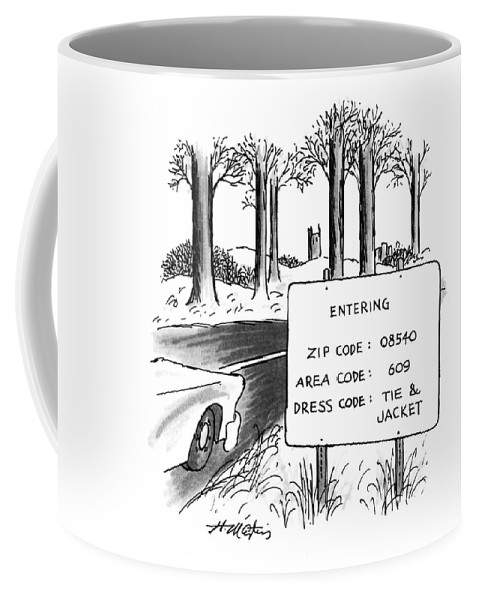 (sign By The Side Of The Road That Reads Coffee Mug featuring the drawing New Yorker February 1st, 1993 by Henry Martin