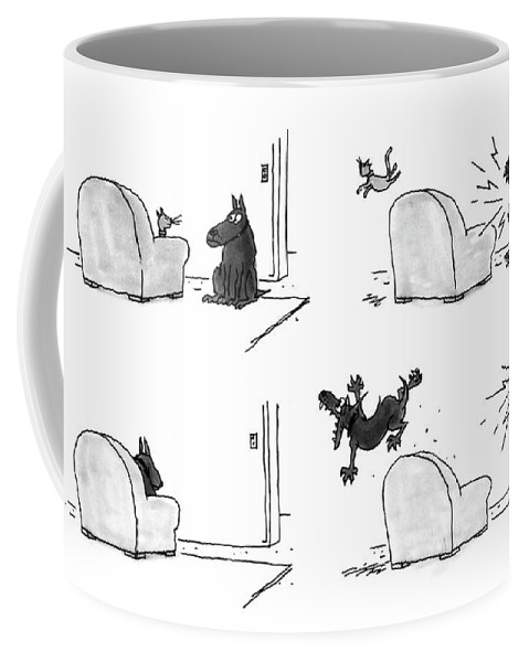 (four Panel Sequence In Which A Cat Sleeping In An Easy Chair Is Frightened Away By A Barking Dog Coffee Mug featuring the drawing New Yorker February 22nd, 1993 by George Booth
