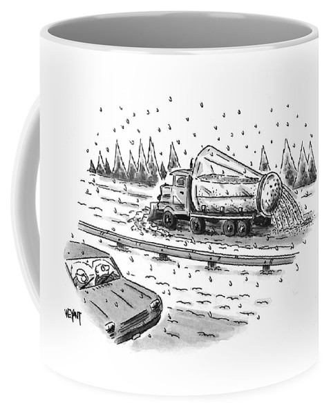 Winter Coffee Mug featuring the drawing New Yorker February 22nd, 1999 by Christopher Weyant