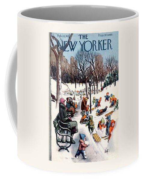 New York City Coffee Mug featuring the painting New Yorker February 26th, 1955 by Arthur Getz