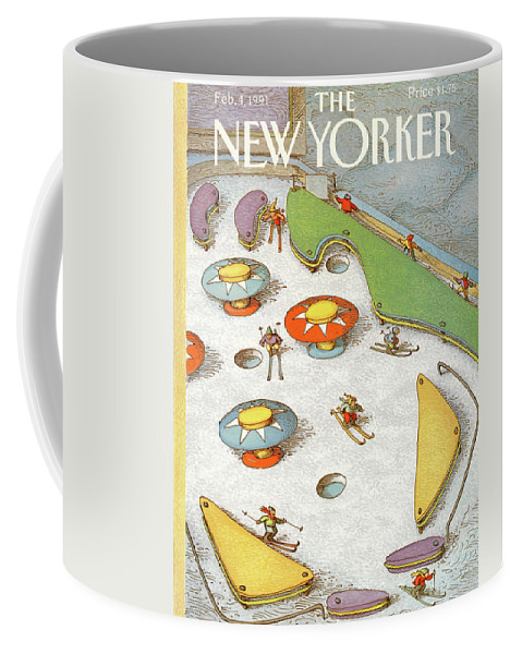 Snow Skiers Make Their Way Through Pinball Machine Obstacles Down A Snowy Bank. Coffee Mug featuring the painting New Yorker February 4th, 1991 by John O'Brien