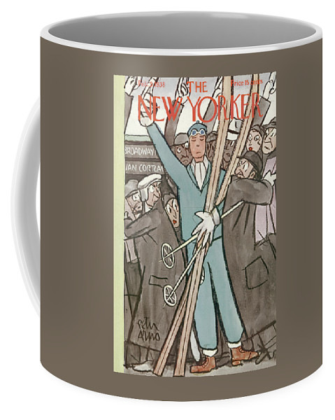 Subway Coffee Mug featuring the painting New Yorker February 5, 1938 by Peter Arno