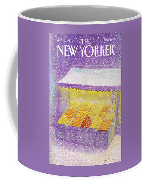 Season Coffee Mug featuring the painting New Yorker January 12th, 1981 by Eugene Mihaesco