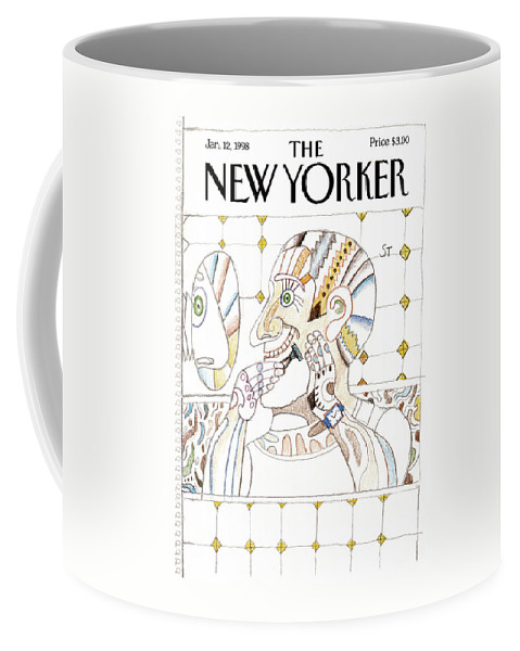 Saul Steinberg 50928 Steinbergattny The Man In The Mirror. Coffee Mug featuring the painting New Yorker January 12th, 1998 by Saul Steinberg