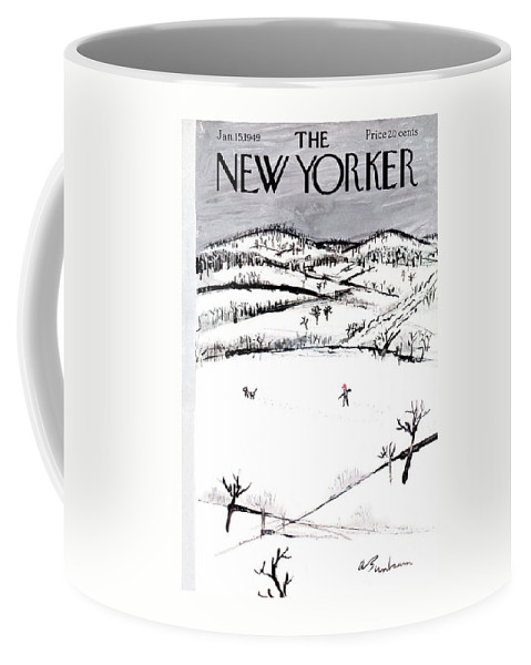 Season Coffee Mug featuring the painting New Yorker January 15th, 1949 by Abe Birnbaum