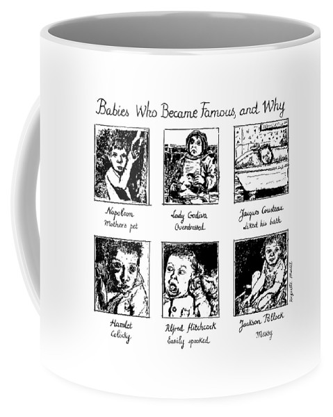 Babies Coffee Mug featuring the drawing New Yorker January 20th, 1992 by Huguette Marte