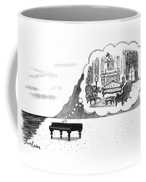 (the Piano On A Desolate Beach Wishing It Was In A Nice Parlor.)  No Caption Piano On Beach Has Mental Image Of Comfortable Victorian Parlor. Refers To Jane Campion's Film  Coffee Mug featuring the drawing New Yorker January 24th, 1994 by Mort Gerberg