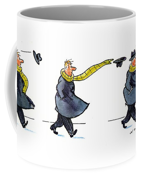 (sequence Of Three Drawings In Which A Man's Hat Is Blown Off By The Wind And His Very Long Scarf Reaches Out To Grab It) Nature Coffee Mug featuring the drawing New Yorker January 25th, 1993 by Bill Woodman