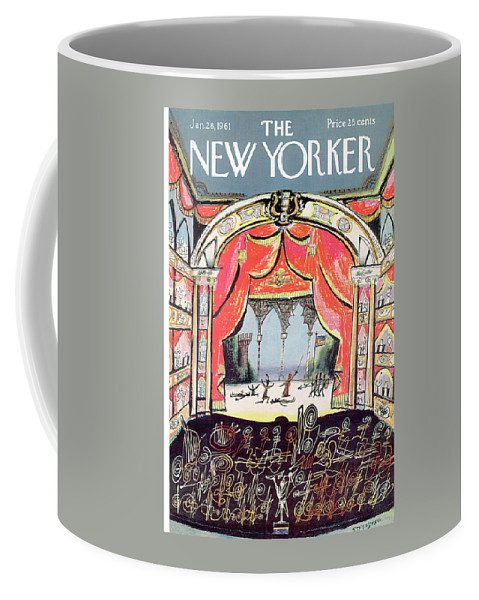 Saul Steinberg 49648 Steinbergattny Coffee Mug featuring the painting New Yorker January 28th, 1961 by Saul Steinberg