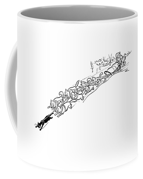 Winter Dogsled Is Pulled Quickly As The Dogs Chase A Cat That Is Tied A Yard In Front Of Them. Animals Coffee Mug featuring the drawing New Yorker January 2nd, 1943 by Alain
