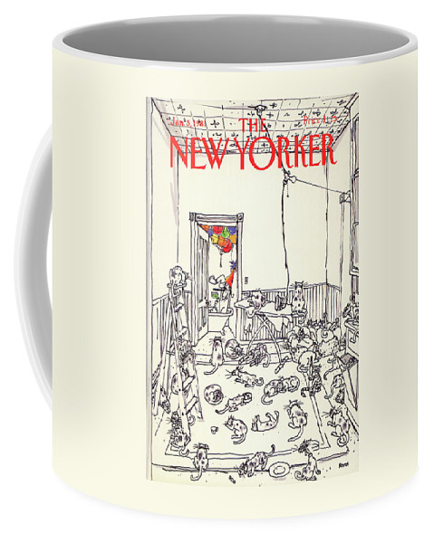 Holiday Coffee Mug featuring the painting New Yorker January 5th, 1981 by George Booth