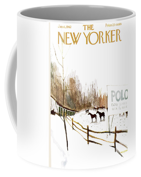 Suburb Country Outdoors Community Town Small Suburban Quaint Village Sport Sports Horse Horses Polo Snow Winter Snowing Jst James Stevenson Sumnerok James Stevenson Jst Artkey 49692 Coffee Mug featuring the painting New Yorker January 6th, 1962 by James Stevenson
