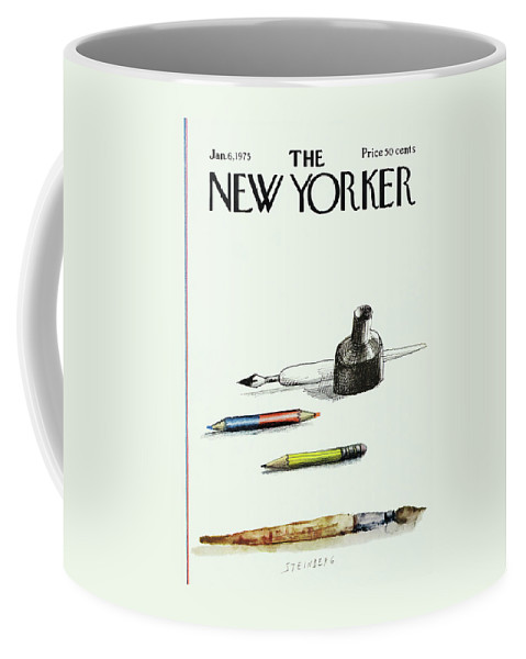 Saul Steinberg 50268 Steinbergattny Coffee Mug featuring the painting New Yorker January 6th, 1975 by Saul Steinberg