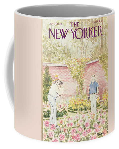 (woman Takes Photograph Of Her Gardener Husband Standing In Front Of His Flower Beds.) Leisure Hobbies Gardening Age Old Retirement Nature Gardens Roses Relationships Marriage  Charles Saxon Csa Artkey 46212 Coffee Mug featuring the painting New Yorker July 21st, 1980 by Charles Saxon