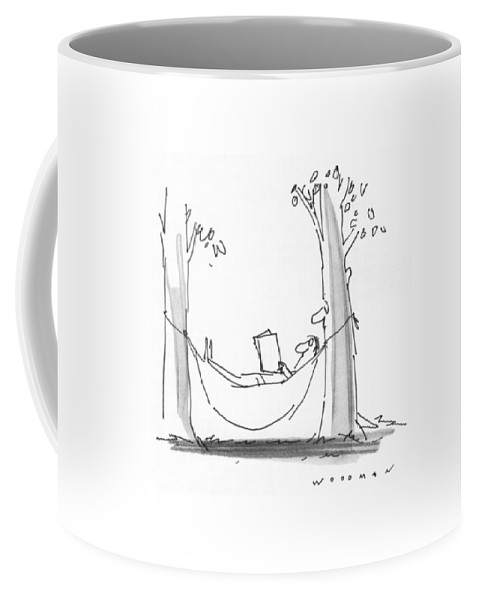 77339 Bwo Bill Woodman (man Is Reading In A Hammock As A Tree With A Face Reads Over His Shoulder.) Alive Book Books Environment Face Hammock Hammocks Landscape Landscapes Leisure Man Nature Outdoor Outdoors Over Read Reading Reads Relax Relaxation Relaxing Shoulder Tree Trees Coffee Mug featuring the drawing New Yorker July 26th, 1976 by Bill Woodman