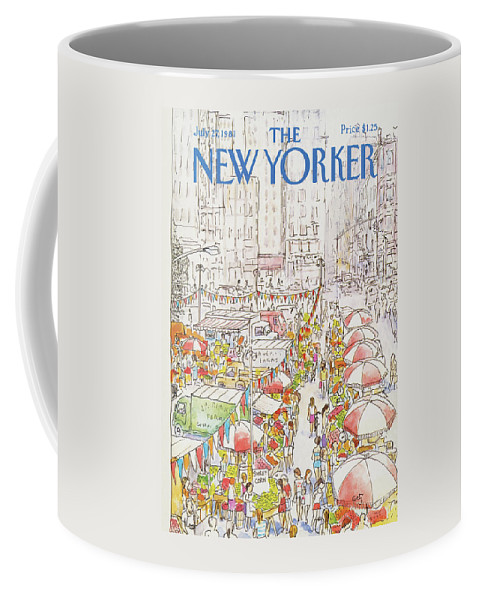 New York City Coffee Mug featuring the painting New Yorker July 27th, 1981 by Arthur Getz