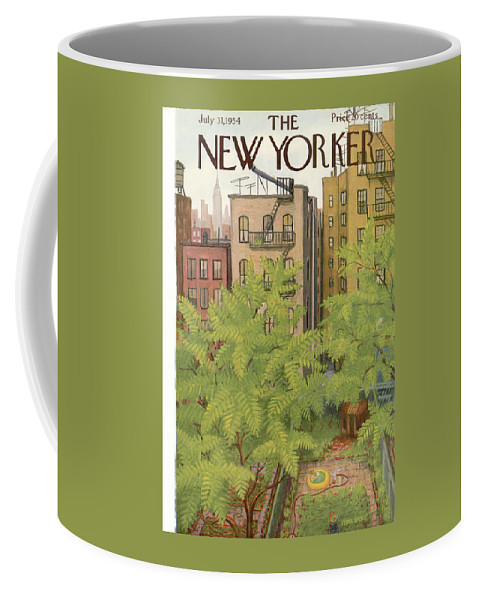 Urban Coffee Mug featuring the painting New Yorker July 31st, 1954 by Edna Eicke