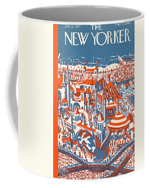 Coney Island Coffee Mug featuring the painting New Yorker July 4th, 1925 by Ilonka Karasz