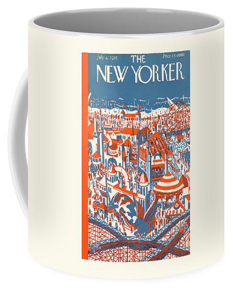 Coney Island Coffee Mug featuring the painting New Yorker July 4th, 1925 by Ilonka Karasz