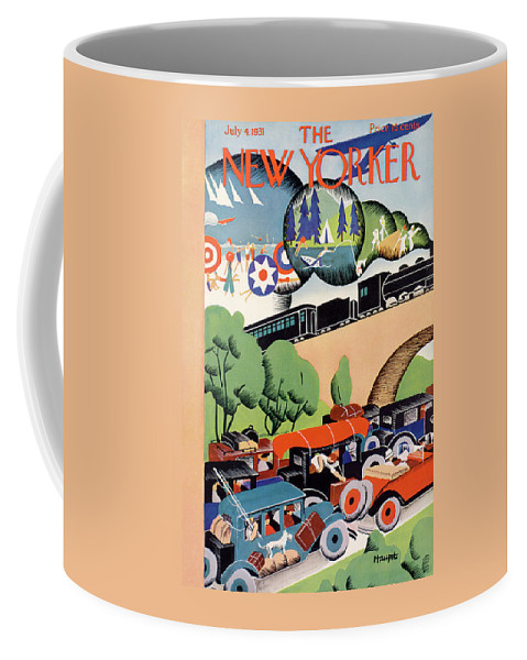 Travel Coffee Mug featuring the painting New Yorker July 4th, 1931 by Theodore G Haupt