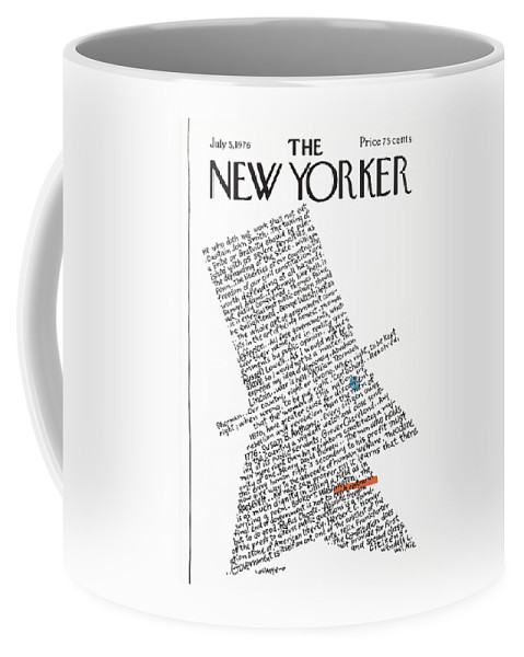 Calligraphy Coffee Mug featuring the painting New Yorker July 5th, 1976 by Lou Myers