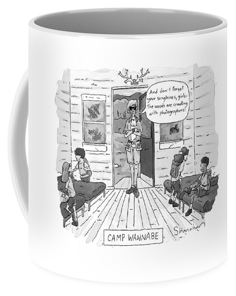 Leisure Coffee Mug featuring the drawing New Yorker July 7th, 1997 by Danny Shanahan