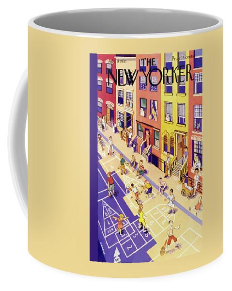 Children Coffee Mug featuring the painting New Yorker July 9 1938 by Ilonka Karasz