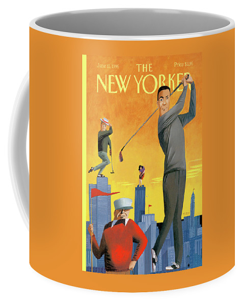 Tee Time Coffee Mug featuring the painting New Yorker June 10th, 1996 by Mark Ulriksen