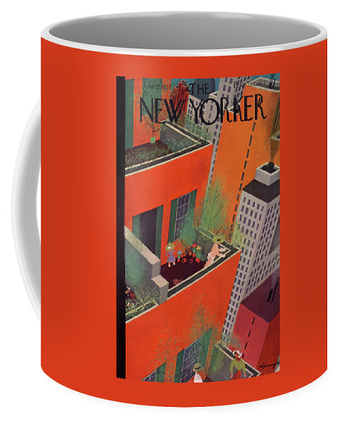 Manhattan Coffee Mug featuring the painting New Yorker June 12, 1937 by Adolph K Kronengold