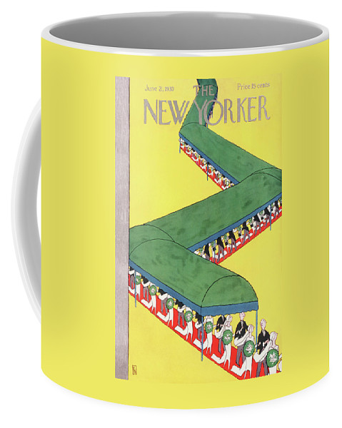 Wedding Bride Groom Vale Tuxedo Bouquet March Canopy Marriage Engagement Gardner Rea Gre Artkey 48232 Coffee Mug featuring the painting New Yorker June 21st, 1930 by Gardner Rea