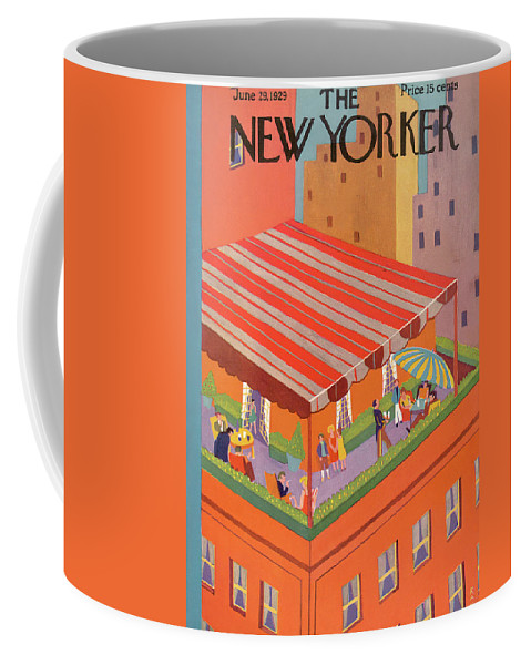 City Rooftop Balcony Penthouse Skyline Umbrella Brunch Meal Dine Dining Red View Summer Spring Manhattan High Society Upscale Party Ray Euffa Reu Artkey 48186 Coffee Mug featuring the painting New Yorker June 29th, 1929 by Ray Euffa