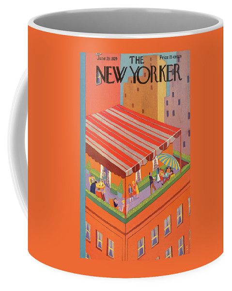 Rooftop Coffee Mug featuring the painting New Yorker June 29th, 1929 by Ray Euffa