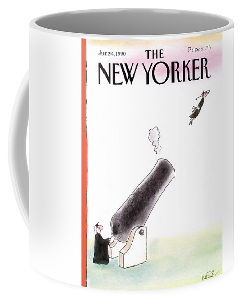 (a Young Graduate Is Shot From A Large Cannon.) Age Coffee Mug featuring the painting New Yorker June 4th, 1990 by Arnie Levin