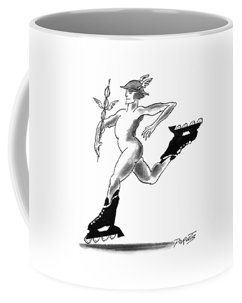 (mercury Wearing In-line Skates) Books Coffee Mug featuring the drawing New Yorker March 29th, 1993 by Peter Porges