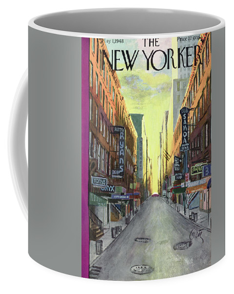 The Sun Rises On New York Jazz Clubs Of The 1940's Coffee Mug featuring the painting New Yorker May 1st, 1948 by Arthur Getz