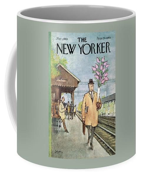 Holidays Coffee Mug featuring the painting New Yorker May 1st, 1965 by Charles Saxon