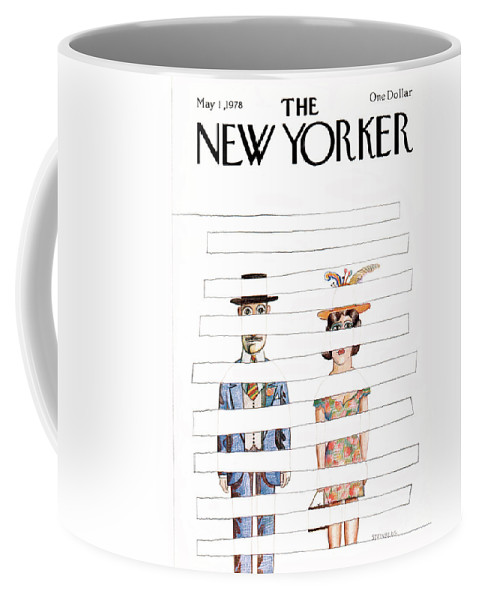 Saul Steinberg 50415 Steinbergattny  Coffee Mug featuring the painting New Yorker May 1st, 1978 by Saul Steinberg