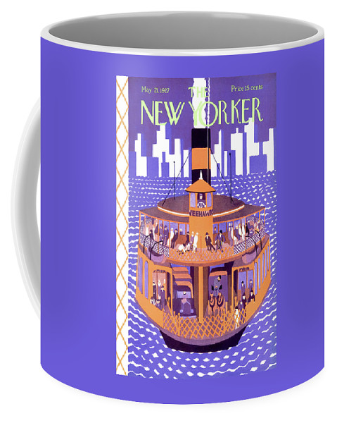 River Riverboat Steamboat Ferry Ferryboat Staten Island City New York Ilonka Karasz Ika Artkey 48088 Coffee Mug featuring the painting New Yorker May 21st, 1927 by Ilonka Karasz
