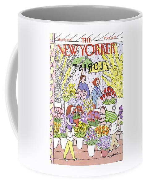 Consumerism Coffee Mug featuring the painting New Yorker May 28th, 1990 by Devera Ehrenberg