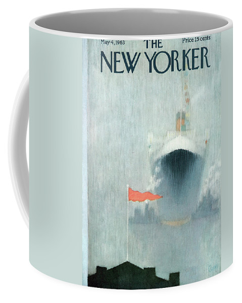 Captain Sailor Ship Boat Yacht Vessel Cruise First Mate Deck Sea Ocean Nautical Beach Coast Coastline Coastal Harbor Dock Flag Fog Foggy Charles E. Martin Cma Sumnerok Charles E. Martin Cma Artkey 49753 Coffee Mug featuring the painting New Yorker May 4th, 1963 by Charles E. Martin