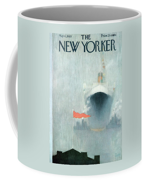 Ocean Liner Coffee Mug featuring the painting New Yorker May 4th, 1963 by Charles E Martin